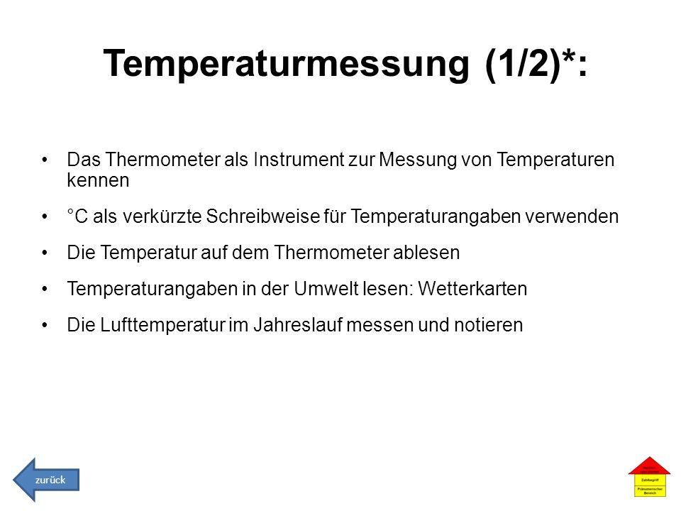 Temperaturmessung (1/2)*: Das Thermometer als Instrument zur Messung von Temperaturen kennen °C als verkürzte Schreibweise für Temperaturangaben verwe