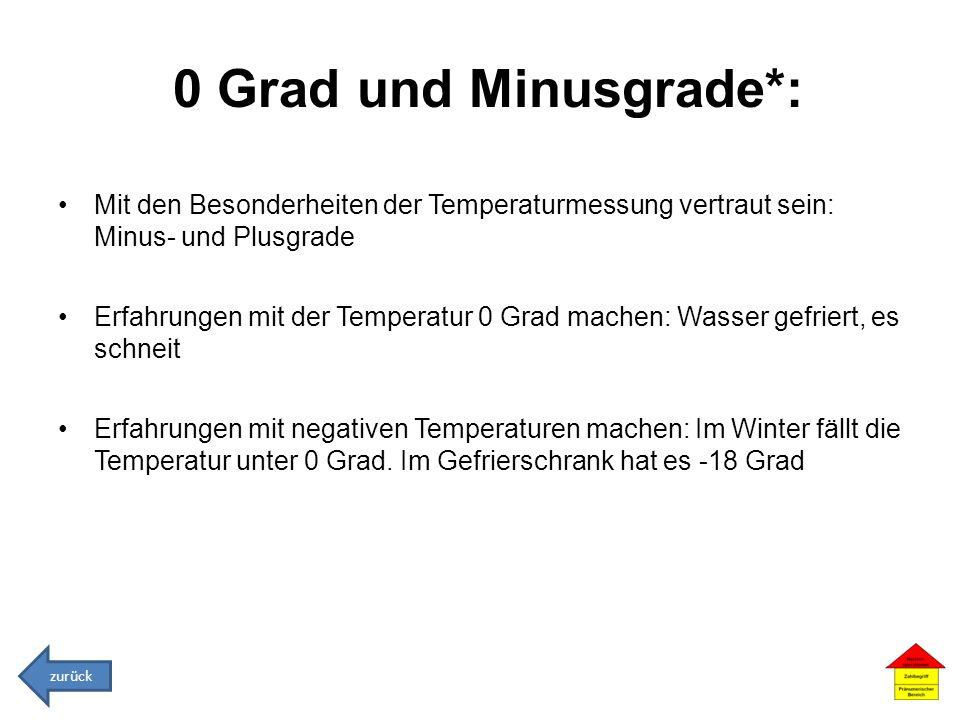 0 Grad und Minusgrade*: Mit den Besonderheiten der Temperaturmessung vertraut sein: Minus- und Plusgrade Erfahrungen mit der Temperatur 0 Grad machen: