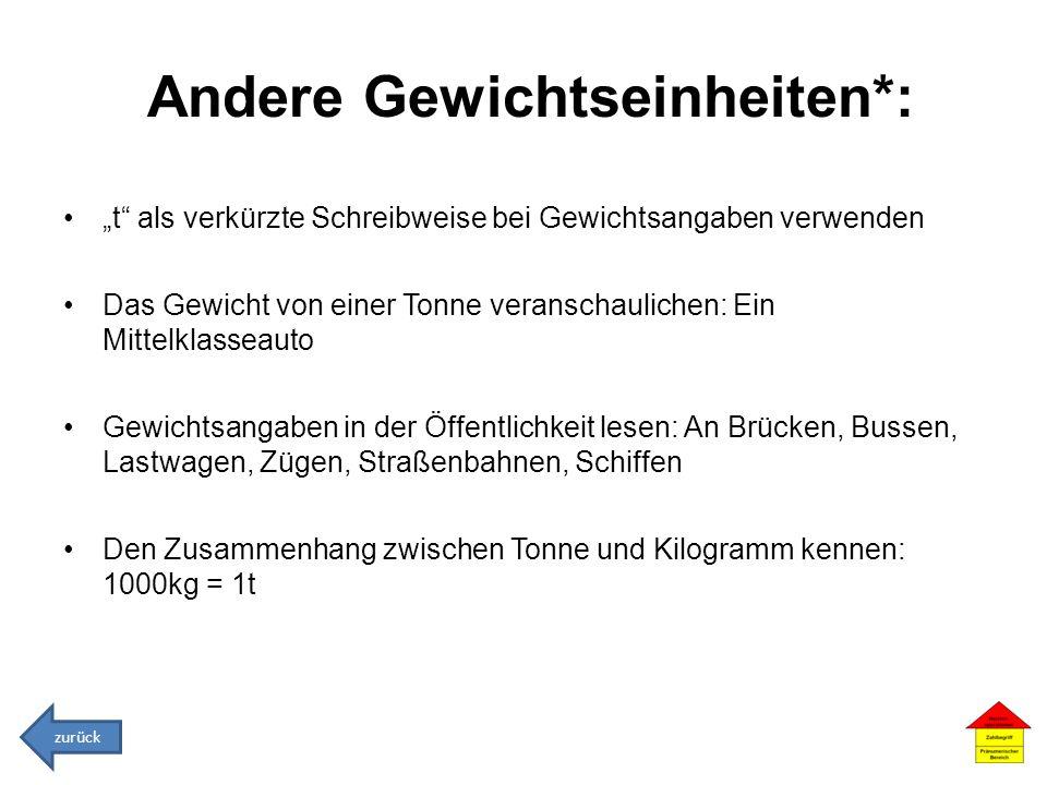Andere Gewichtseinheiten*: t als verkürzte Schreibweise bei Gewichtsangaben verwenden Das Gewicht von einer Tonne veranschaulichen: Ein Mittelklasseau