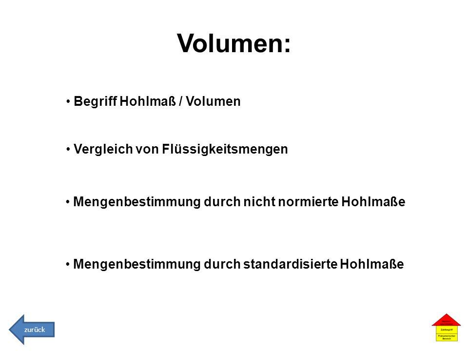 Volumen: Begriff Hohlmaß / Volumen Vergleich von Flüssigkeitsmengen Mengenbestimmung durch nicht normierte Hohlmaße Mengenbestimmung durch standardisi