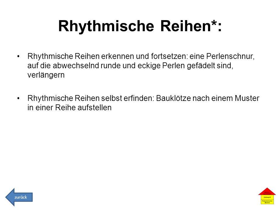 Rhythmische Reihen*: Rhythmische Reihen erkennen und fortsetzen: eine Perlenschnur, auf die abwechselnd runde und eckige Perlen gefädelt sind, verläng