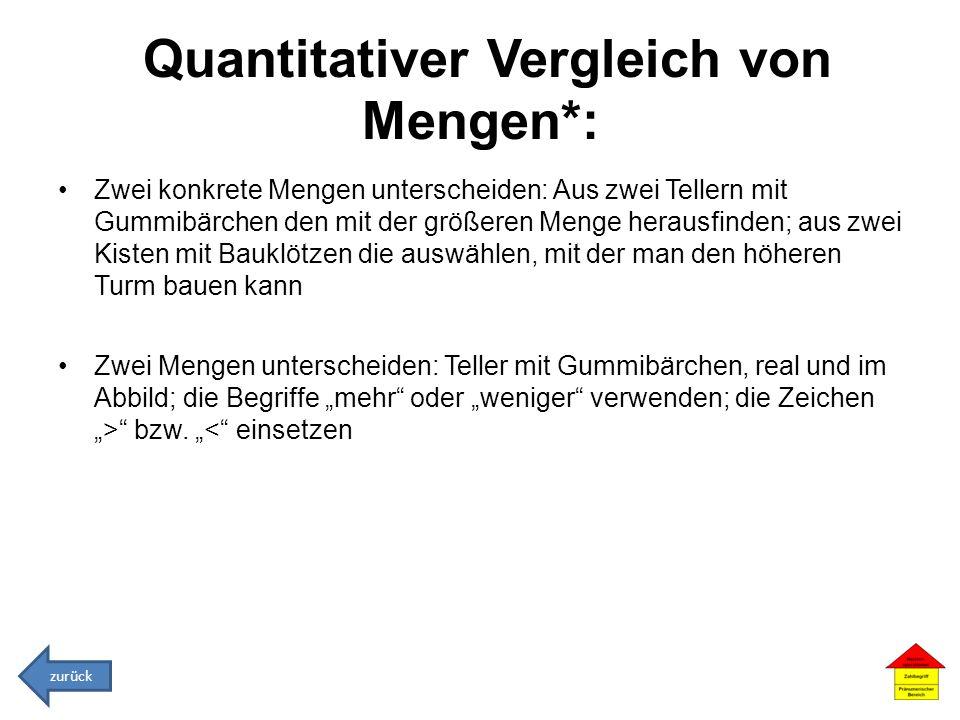 Quantitativer Vergleich von Mengen*: Zwei konkrete Mengen unterscheiden: Aus zwei Tellern mit Gummibärchen den mit der größeren Menge herausfinden; au