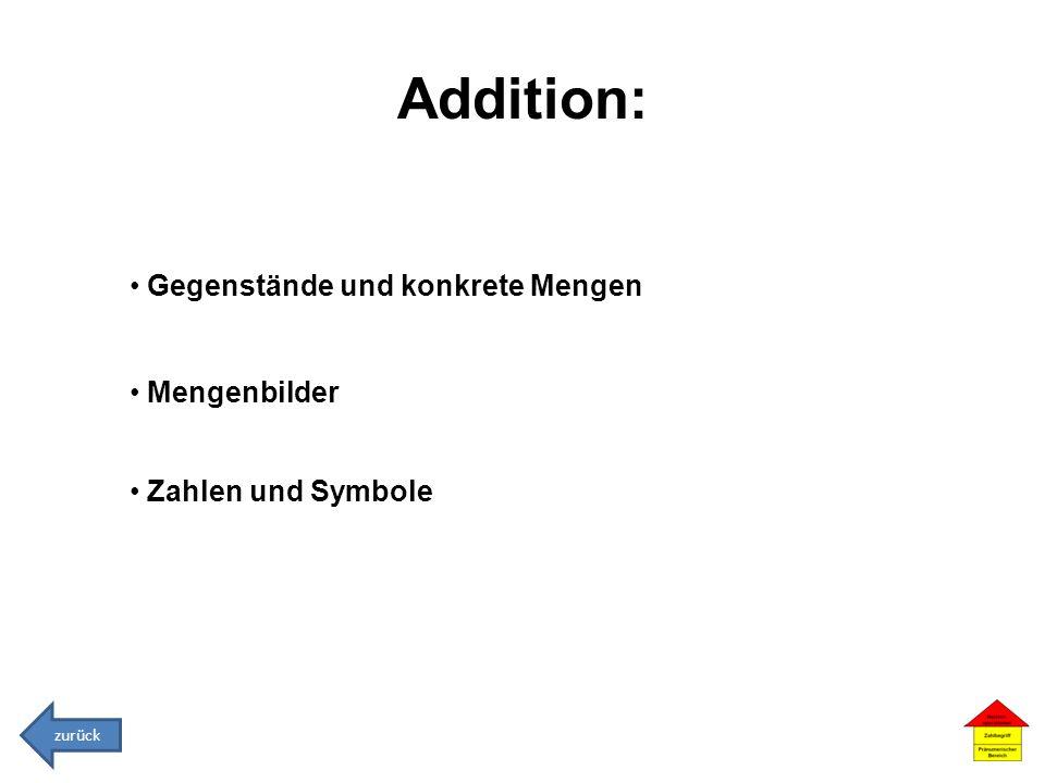 Addition: Gegenstände und konkrete Mengen Mengenbilder Zahlen und Symbole zurück