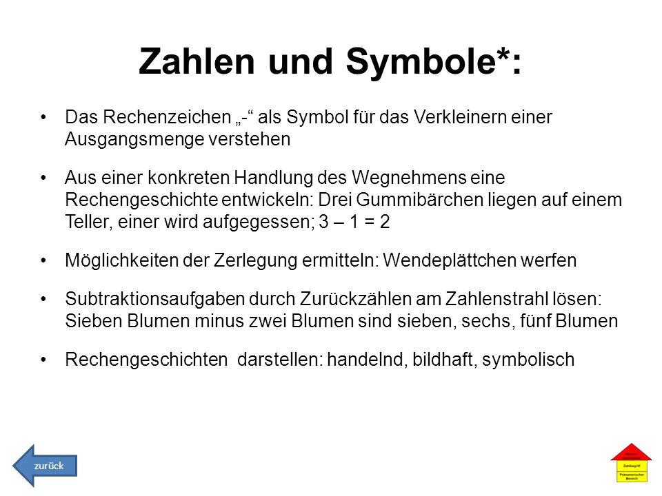 Zahlen und Symbole*: Das Rechenzeichen - als Symbol für das Verkleinern einer Ausgangsmenge verstehen Aus einer konkreten Handlung des Wegnehmens eine