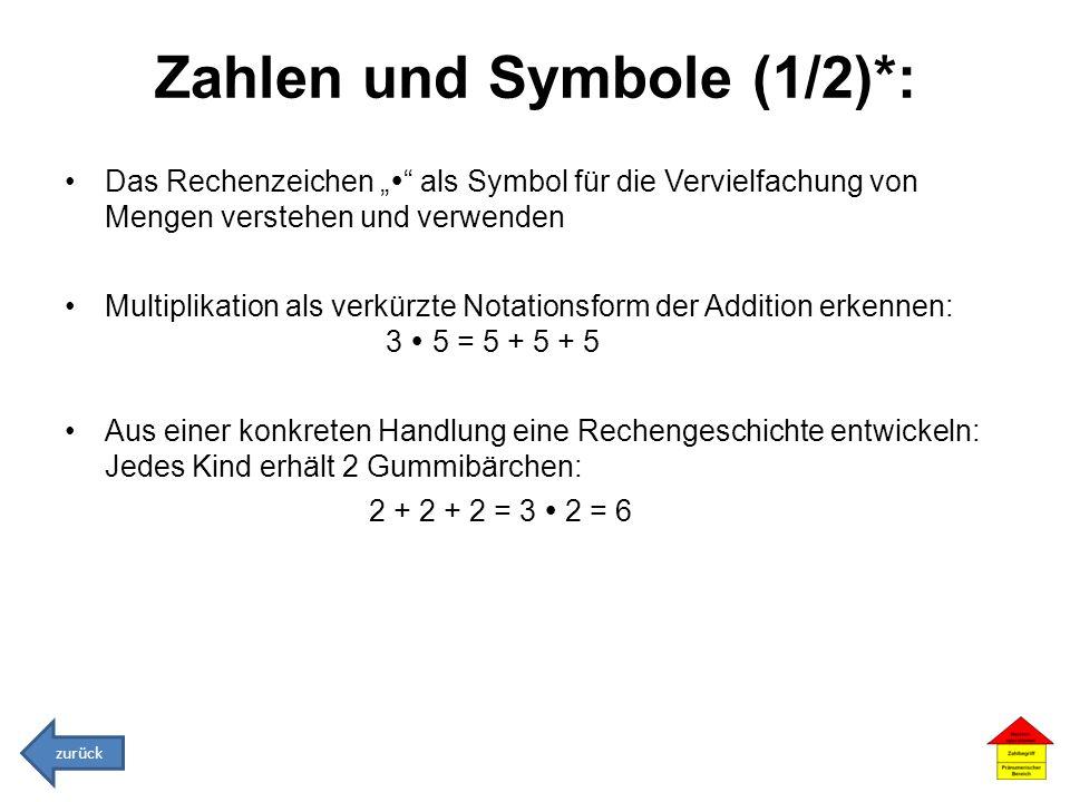 Zahlen und Symbole (1/2)*: Das Rechenzeichen als Symbol für die Vervielfachung von Mengen verstehen und verwenden Multiplikation als verkürzte Notatio
