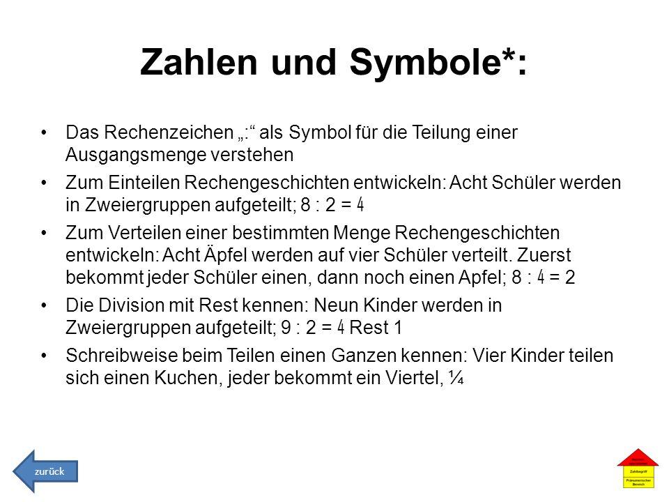 Zahlen und Symbole*: Das Rechenzeichen : als Symbol für die Teilung einer Ausgangsmenge verstehen Zum Einteilen Rechengeschichten entwickeln: Acht Sch