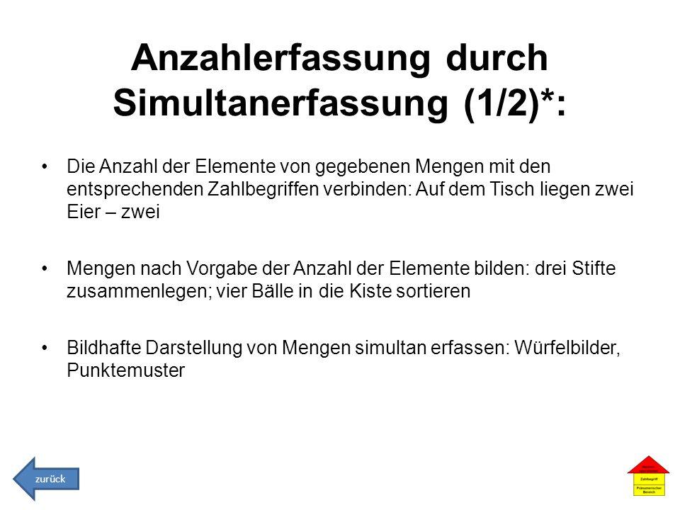 Anzahlerfassung durch Simultanerfassung (1/2)*: Die Anzahl der Elemente von gegebenen Mengen mit den entsprechenden Zahlbegriffen verbinden: Auf dem T