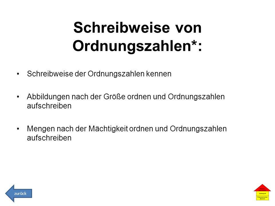 Schreibweise von Ordnungszahlen*: Schreibweise der Ordnungszahlen kennen Abbildungen nach der Größe ordnen und Ordnungszahlen aufschreiben Mengen nach