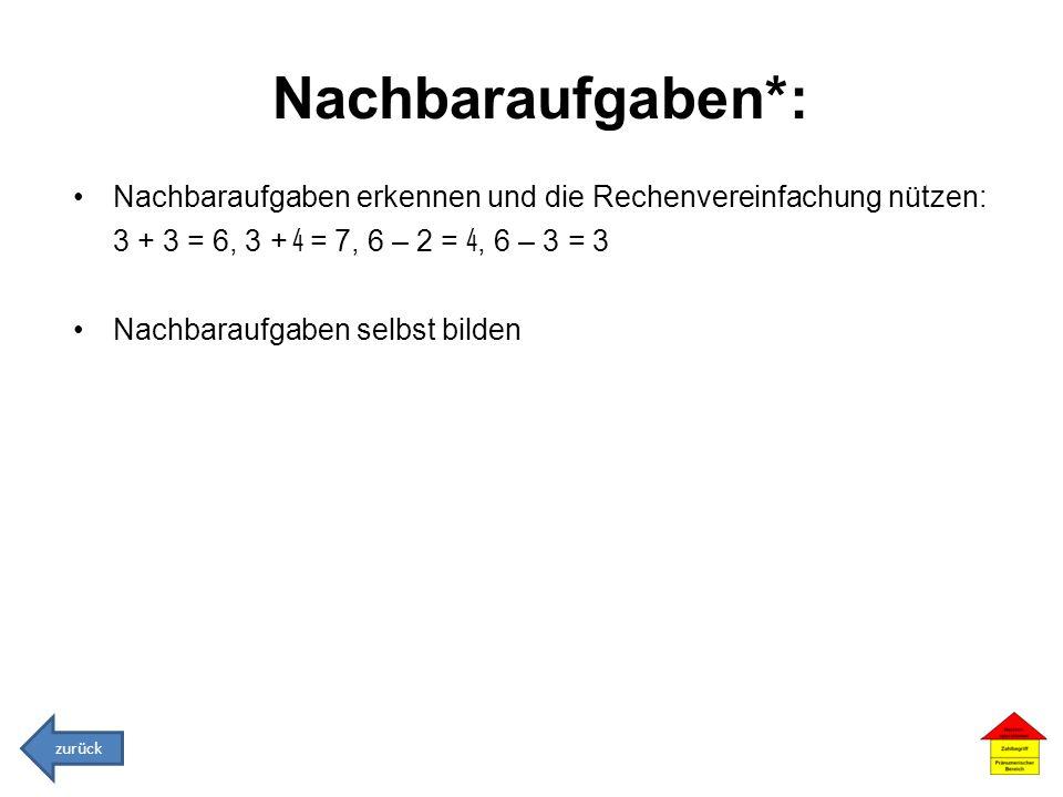 Nachbaraufgaben*: Nachbaraufgaben erkennen und die Rechenvereinfachung nützen: 3 + 3 = 6, 3 + 4 = 7, 6 – 2 = 4, 6 – 3 = 3 Nachbaraufgaben selbst bilde
