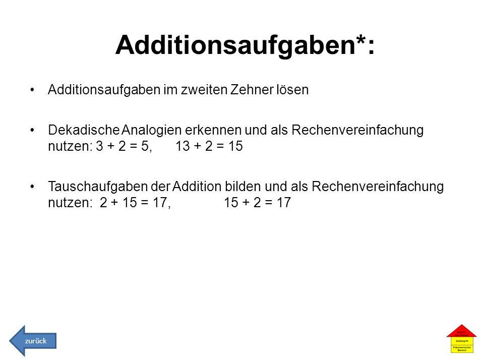 Additionsaufgaben*: Additionsaufgaben im zweiten Zehner lösen Dekadische Analogien erkennen und als Rechenvereinfachung nutzen: 3 + 2 = 5, 13 + 2 = 15