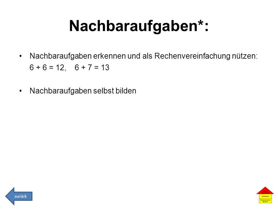 Nachbaraufgaben*: Nachbaraufgaben erkennen und als Rechenvereinfachung nützen: 6 + 6 = 12, 6 + 7 = 13 Nachbaraufgaben selbst bilden zurück
