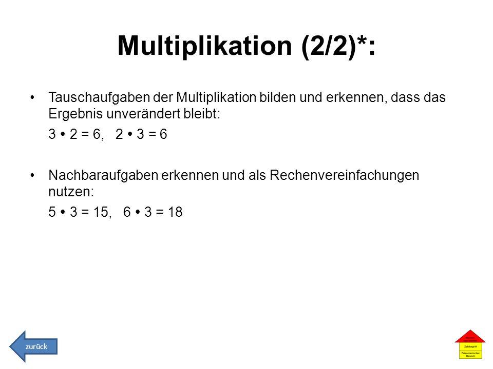Multiplikation (2/2)*: Tauschaufgaben der Multiplikation bilden und erkennen, dass das Ergebnis unverändert bleibt: 3 2 = 6, 2 3 = 6 Nachbaraufgaben e