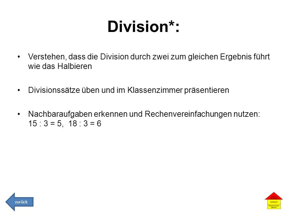 Division*: Verstehen, dass die Division durch zwei zum gleichen Ergebnis führt wie das Halbieren Divisionssätze üben und im Klassenzimmer präsentieren