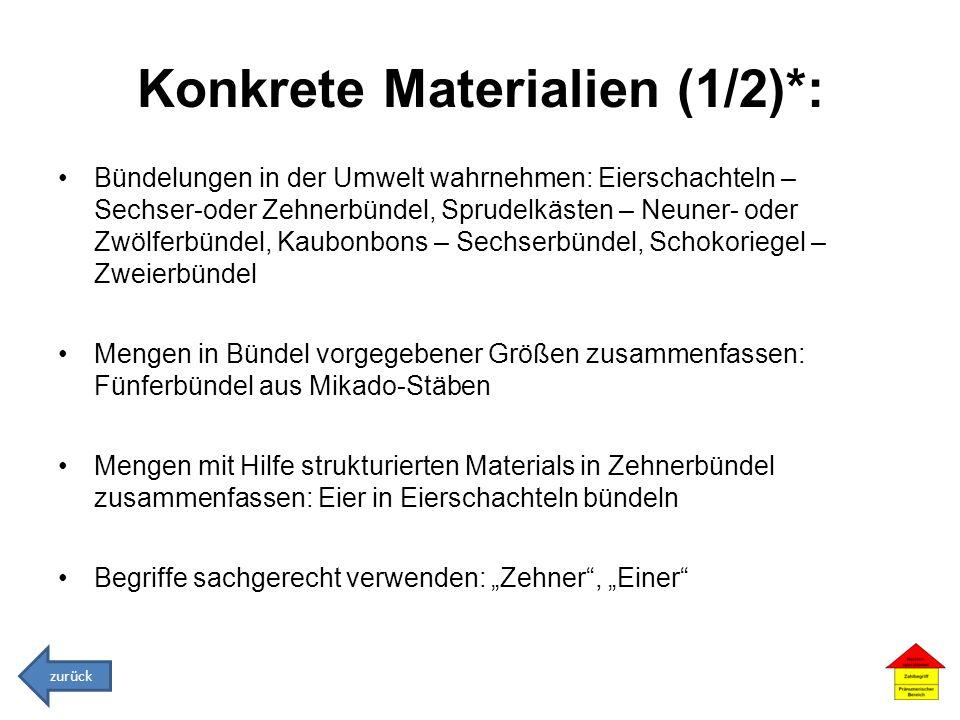 Konkrete Materialien (1/2)*: Bündelungen in der Umwelt wahrnehmen: Eierschachteln – Sechser-oder Zehnerbündel, Sprudelkästen – Neuner- oder Zwölferbün