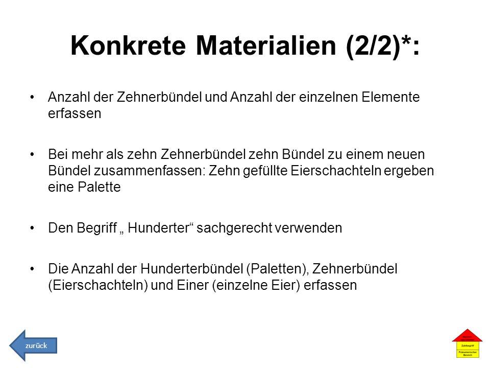 Konkrete Materialien (2/2)*: Anzahl der Zehnerbündel und Anzahl der einzelnen Elemente erfassen Bei mehr als zehn Zehnerbündel zehn Bündel zu einem ne