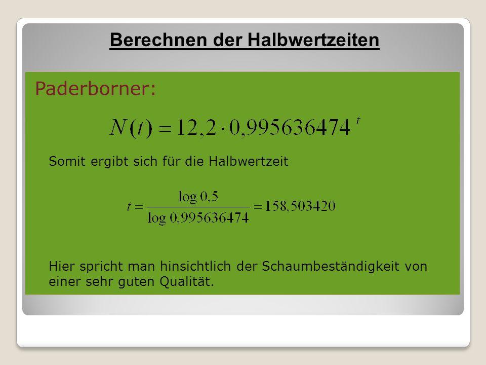 Paderborner: Somit ergibt sich für die Halbwertzeit Hier spricht man hinsichtlich der Schaumbeständigkeit von einer sehr guten Qualität. Berechnen der