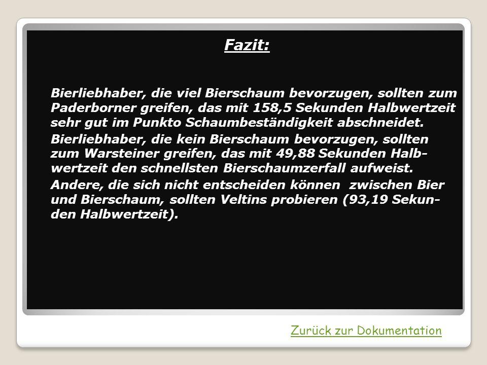 Fazit: Bierliebhaber, die viel Bierschaum bevorzugen, sollten zum Paderborner greifen, das mit 158,5 Sekunden Halbwertzeit sehr gut im Punkto Schaumbe