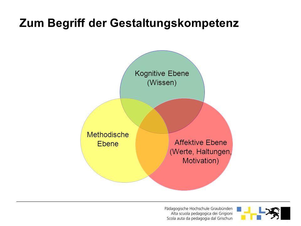 Zum Begriff der Gestaltungskompetenz Kognitive Ebene (Wissen) Affektive Ebene (Werte, Haltungen, Motivation) Methodische Ebene