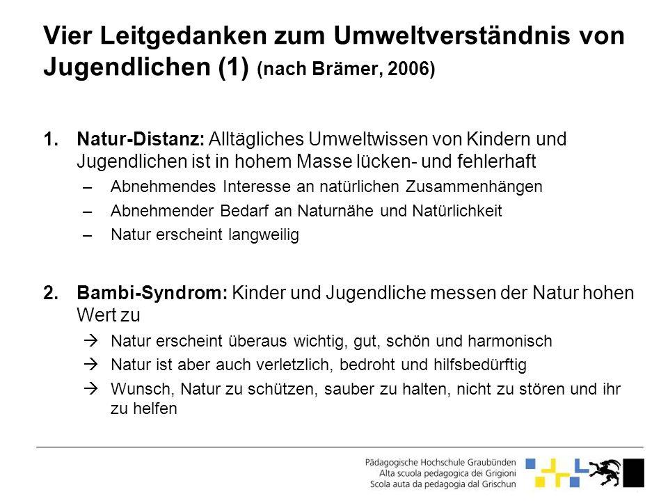 Vier Leitgedanken zum Umweltverständnis von Jugendlichen (1) (nach Brämer, 2006) 1.Natur-Distanz: Alltägliches Umweltwissen von Kindern und Jugendlich
