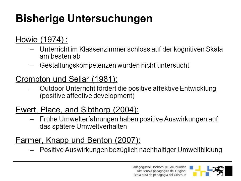 Bisherige Untersuchungen Howie (1974) : –Unterricht im Klassenzimmer schloss auf der kognitiven Skala am besten ab –Gestaltungskompetenzen wurden nich