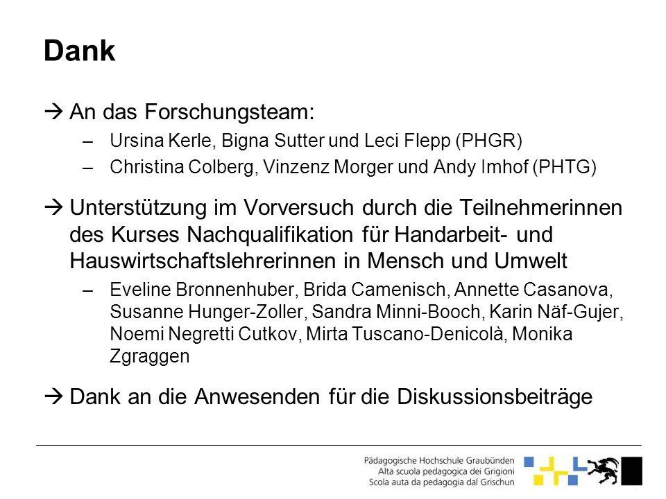 Dank An das Forschungsteam: –Ursina Kerle, Bigna Sutter und Leci Flepp (PHGR) –Christina Colberg, Vinzenz Morger und Andy Imhof (PHTG) Unterstützung i