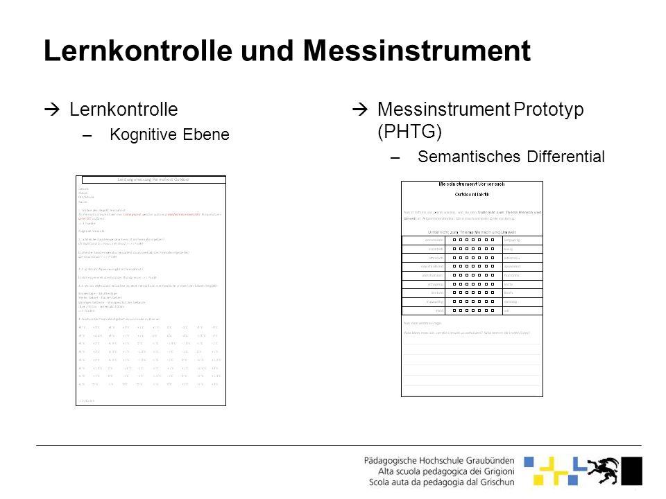 Lernkontrolle und Messinstrument Lernkontrolle –Kognitive Ebene Messinstrument Prototyp (PHTG) –Semantisches Differential