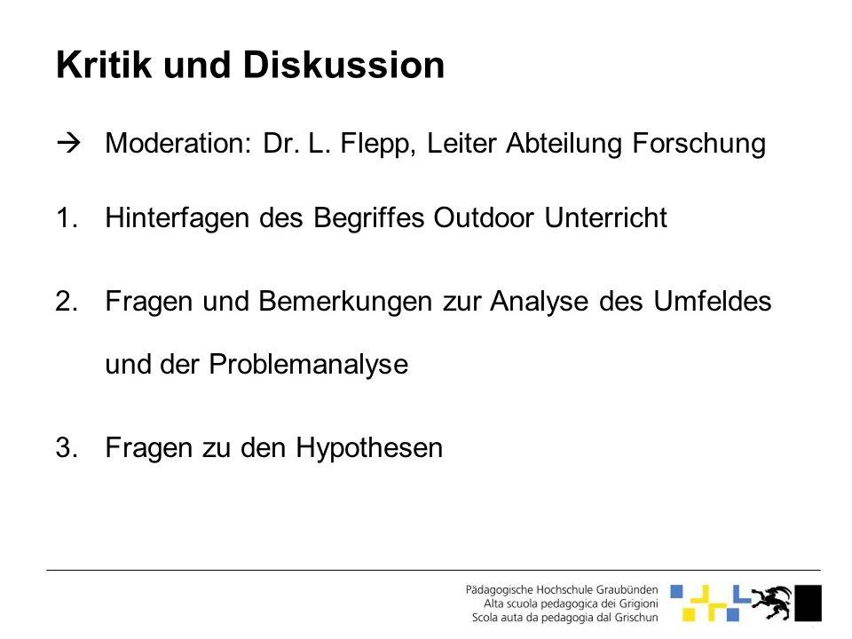 Kritik und Diskussion Moderation: Dr. L. Flepp, Leiter Abteilung Forschung 1.Hinterfagen des Begriffes Outdoor Unterricht 2.Fragen und Bemerkungen zur