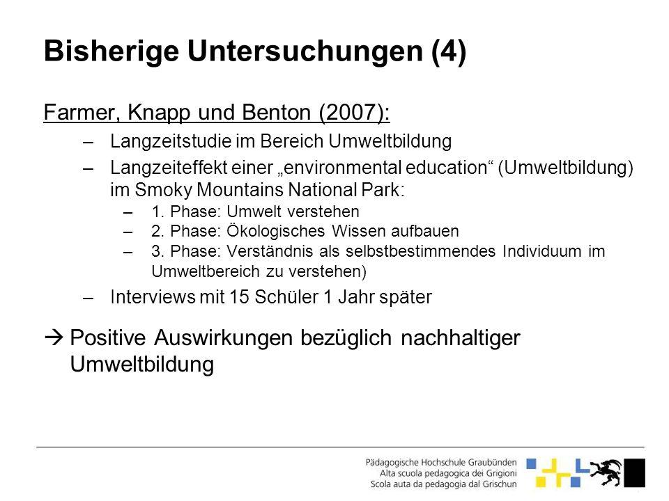 Bisherige Untersuchungen (4) Farmer, Knapp und Benton (2007): –Langzeitstudie im Bereich Umweltbildung –Langzeiteffekt einer environmental education (