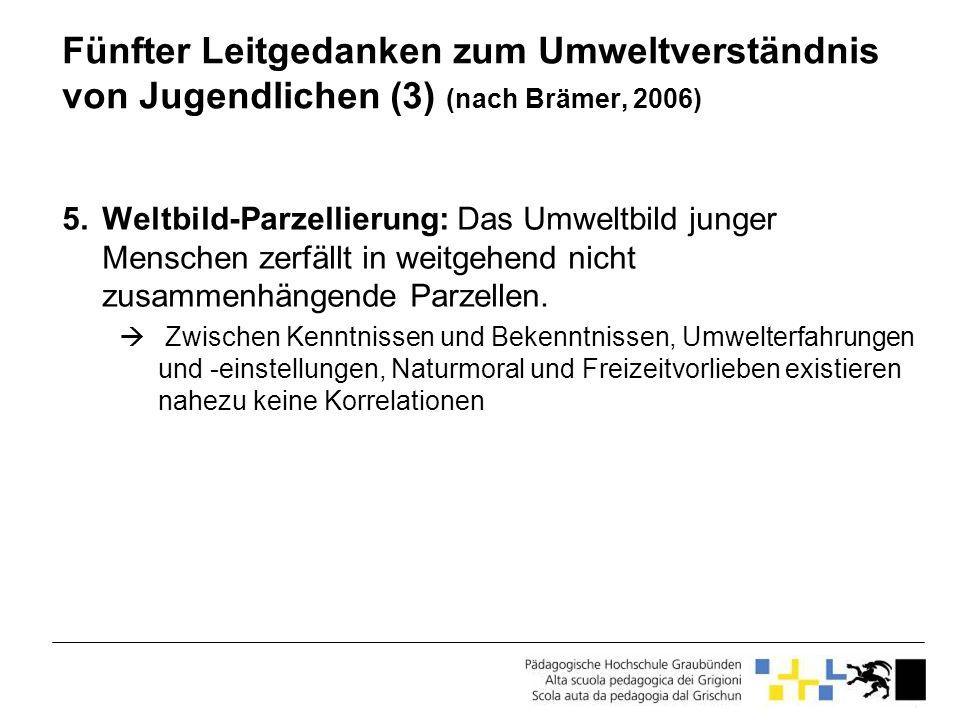 Fünfter Leitgedanken zum Umweltverständnis von Jugendlichen (3) (nach Brämer, 2006) 5.Weltbild-Parzellierung: Das Umweltbild junger Menschen zerfällt