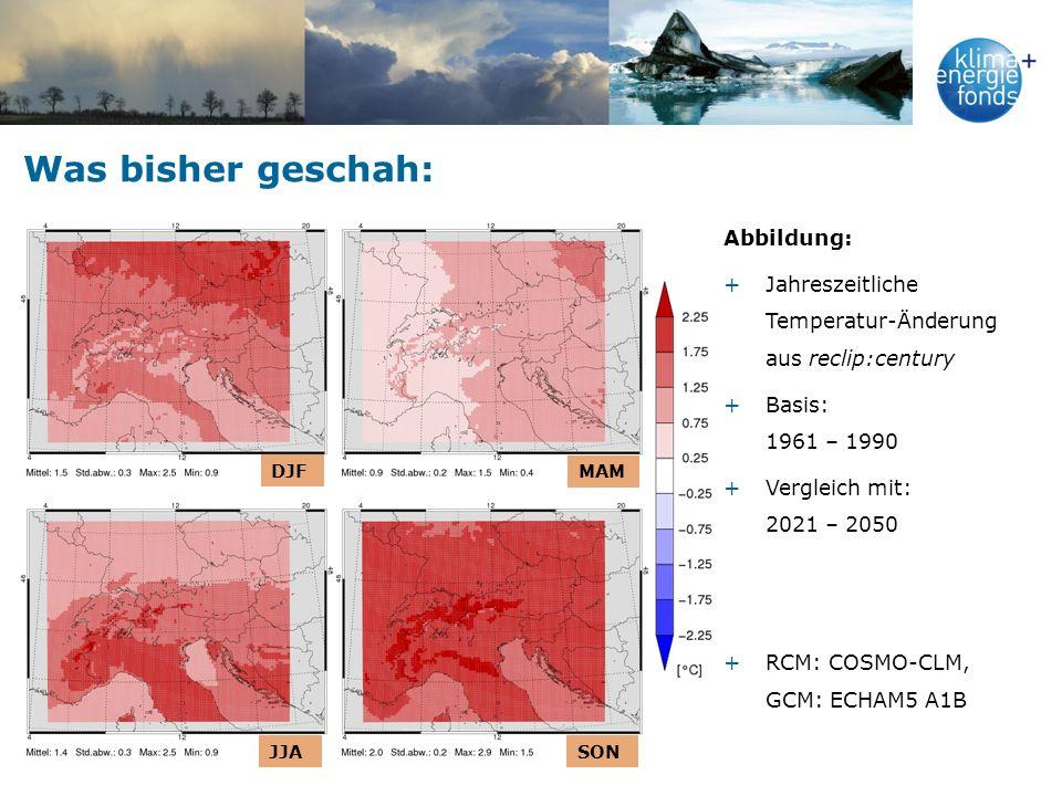 Was bisher geschah: Abbildung: +Jahreszeitliche Temperatur-Änderung aus reclip:century +Basis: 1961 – 1990 +Vergleich mit: 2021 – 2050 +RCM: COSMO-CLM, GCM: ECHAM5 A1B DJF MAM JJASON