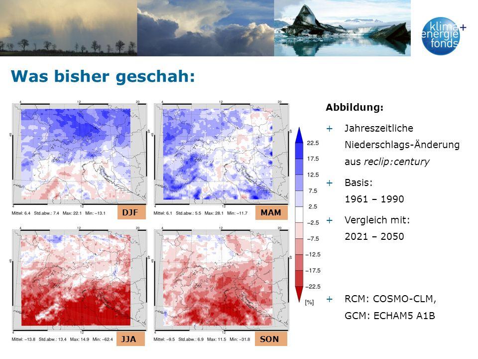 Was bisher geschah: Abbildung: +Jahreszeitliche Niederschlags-Änderung aus reclip:century +Basis: 1961 – 1990 +Vergleich mit: 2021 – 2050 +RCM: COSMO-CLM, GCM: ECHAM5 A1B DJF MAM JJASON