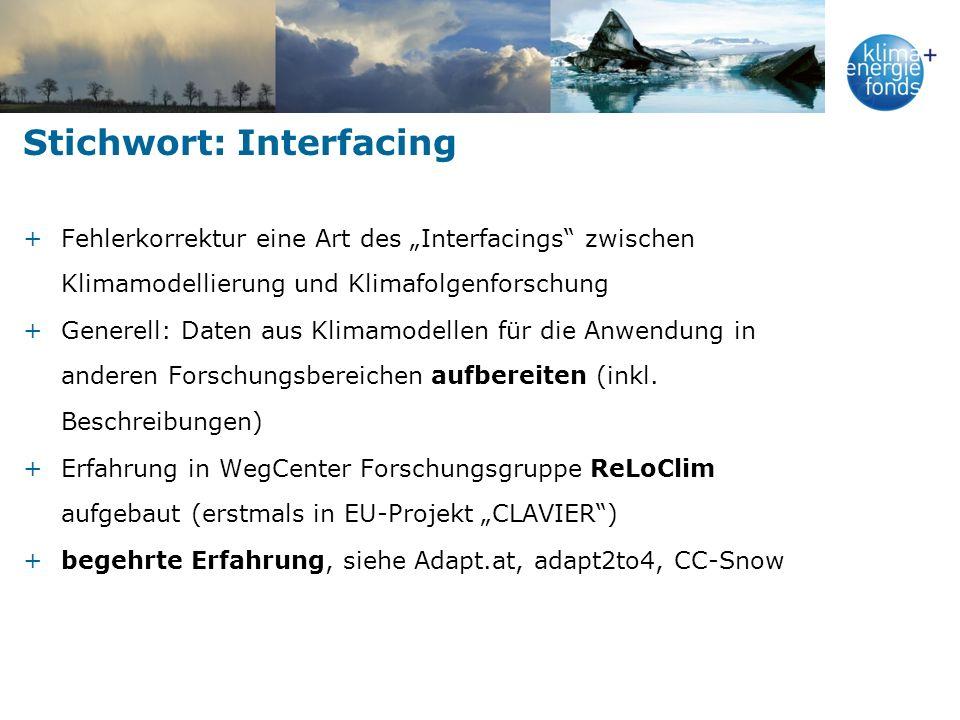 Stichwort: Interfacing +Fehlerkorrektur eine Art des Interfacings zwischen Klimamodellierung und Klimafolgenforschung +Generell: Daten aus Klimamodellen für die Anwendung in anderen Forschungsbereichen aufbereiten (inkl.