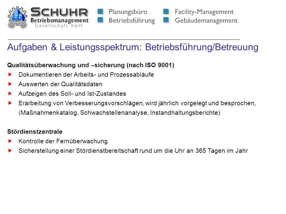 Aufgaben & Leistungsspektrum: Betriebsführung/Betreuung Qualitätsüberwachung und –sicherung (nach ISO 9001) Dokumentieren der Arbeits- und Prozessablä