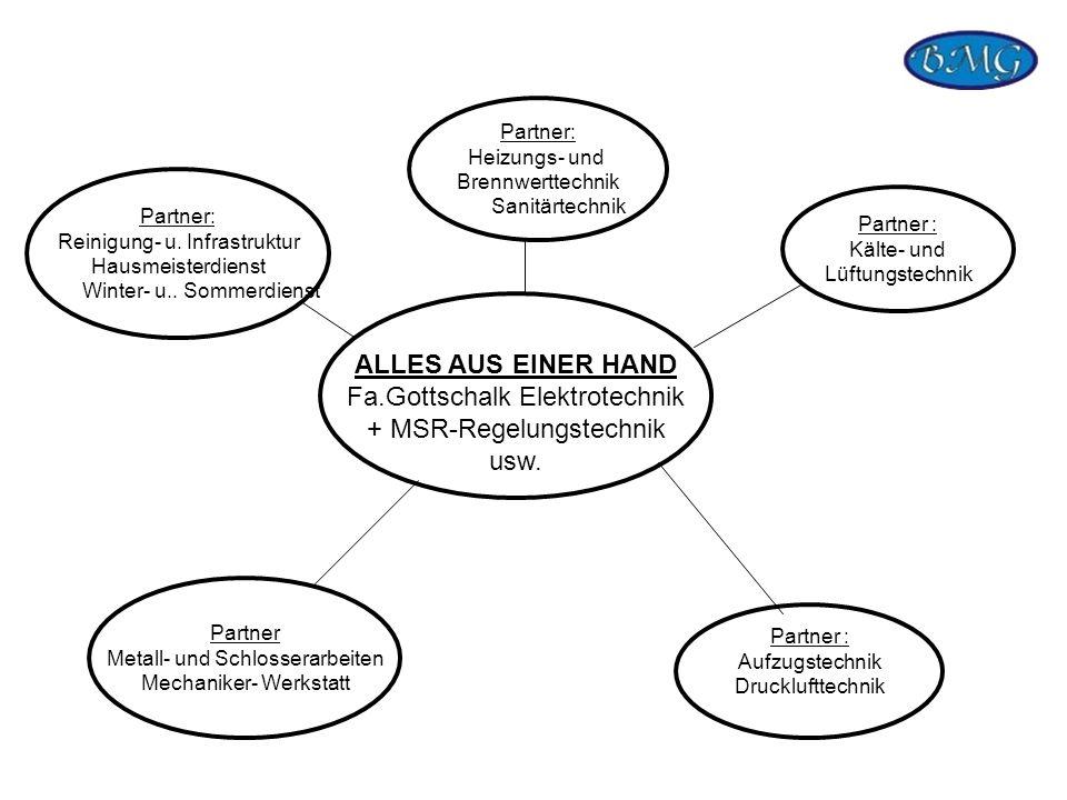 ALLES AUS EINER HAND Fa.Gottschalk Elektrotechnik + MSR-Regelungstechnik usw. Partner: Reinigung- u. Infrastruktur Hausmeisterdienst Winter- u.. Somme
