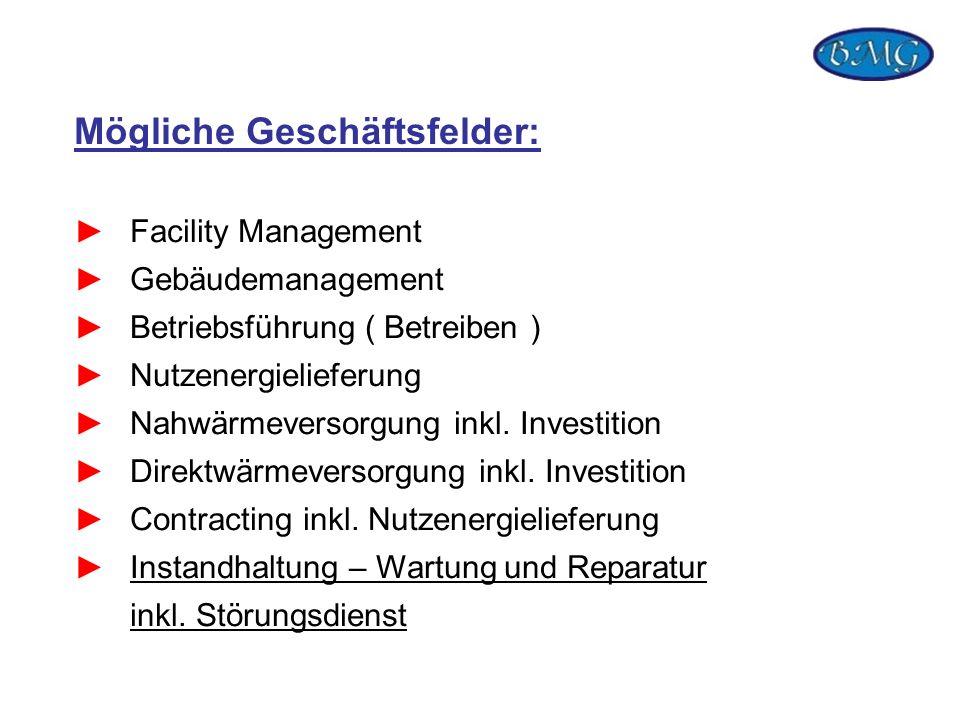 Mögliche Geschäftsfelder: Facility Management Gebäudemanagement Betriebsführung ( Betreiben ) Nutzenergielieferung Nahwärmeversorgung inkl. Investitio