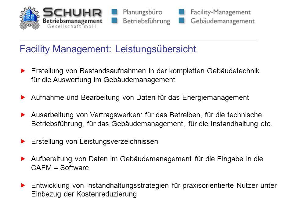 Facility Management: Leistungsübersicht Erstellung von Bestandsaufnahmen in der kompletten Gebäudetechnik für die Auswertung im Gebäudemanagement Aufn