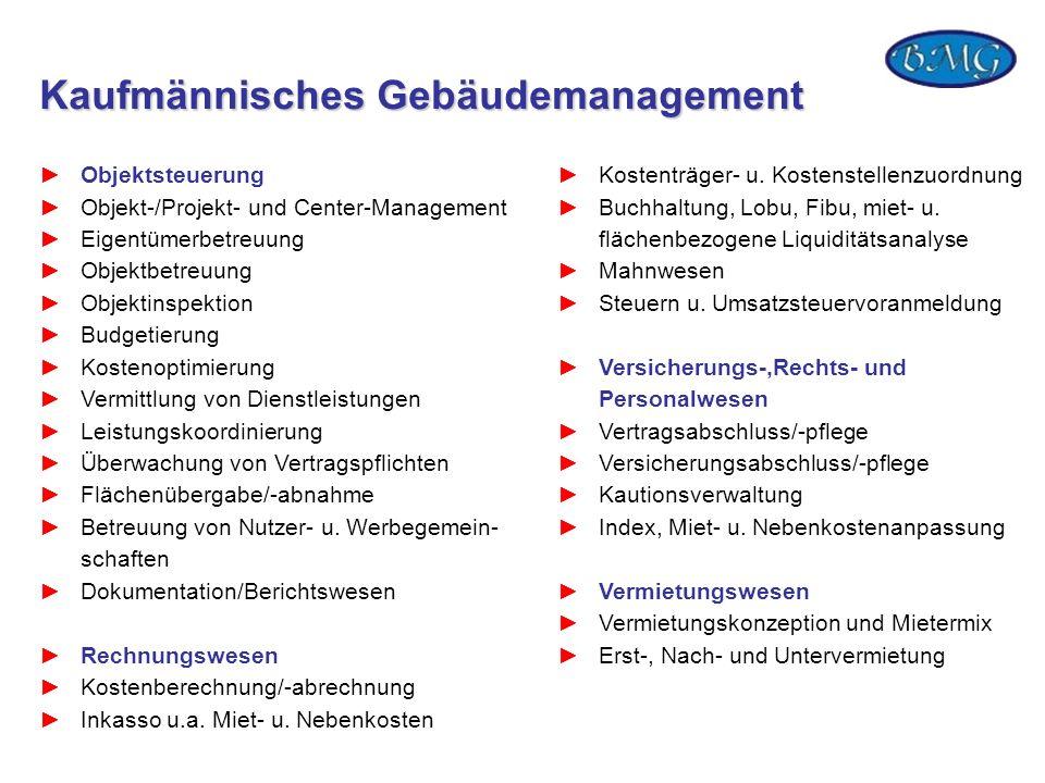 Kaufmännisches Gebäudemanagement Objektsteuerung Objekt-/Projekt- und Center-Management Eigentümerbetreuung Objektbetreuung Objektinspektion Budgetier