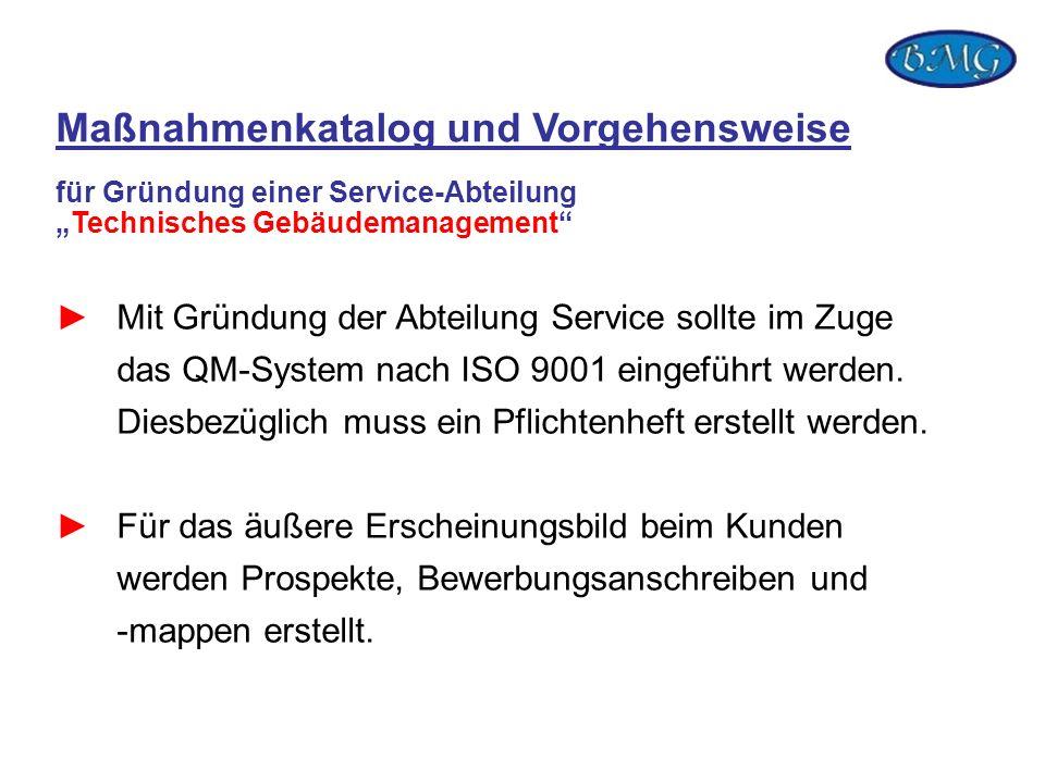 Mit Gründung der Abteilung Service sollte im Zuge das QM-System nach ISO 9001 eingeführt werden. Diesbezüglich muss ein Pflichtenheft erstellt werden.