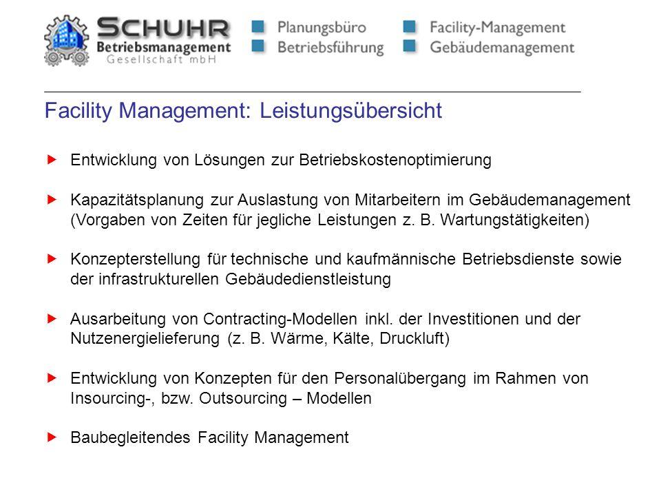 Facility Management: Leistungsübersicht Entwicklung von Lösungen zur Betriebskostenoptimierung Kapazitätsplanung zur Auslastung von Mitarbeitern im Ge