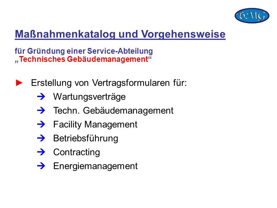 Erstellung von Vertragsformularen für: Wartungsverträge Techn. Gebäudemanagement Facility Management Betriebsführung Contracting Energiemanagement Maß