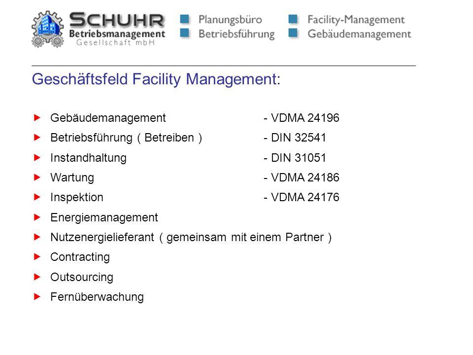 Geschäftsfeld Facility Management: Gebäudemanagement- VDMA 24196 Betriebsführung ( Betreiben )- DIN 32541 Instandhaltung- DIN 31051 Wartung- VDMA 2418