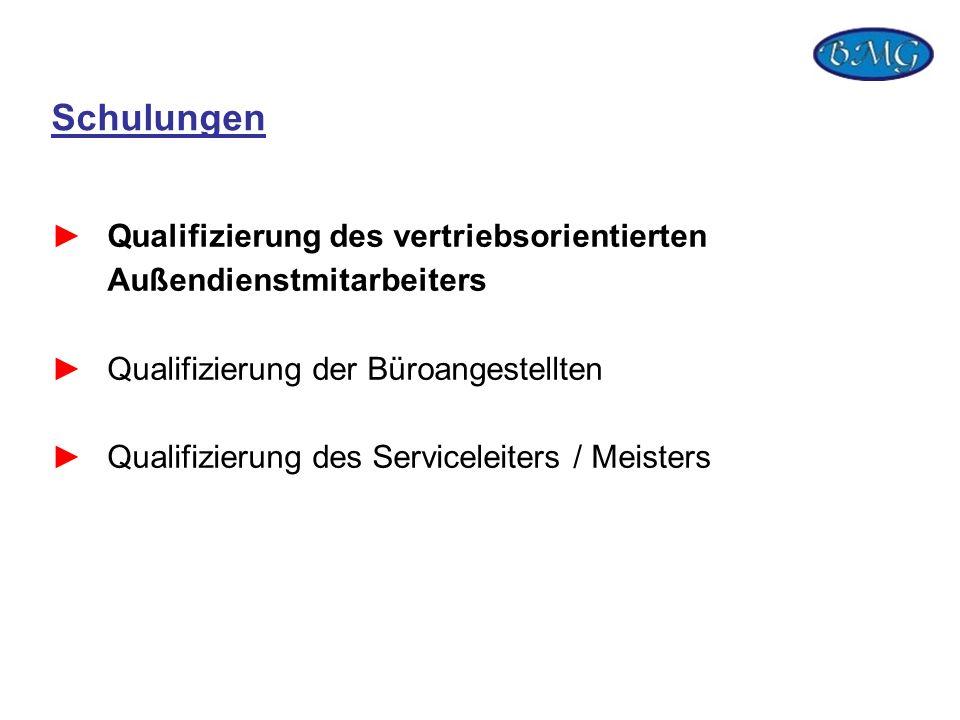 Schulungen Qualifizierung des vertriebsorientierten Außendienstmitarbeiters Qualifizierung der Büroangestellten Qualifizierung des Serviceleiters / Me