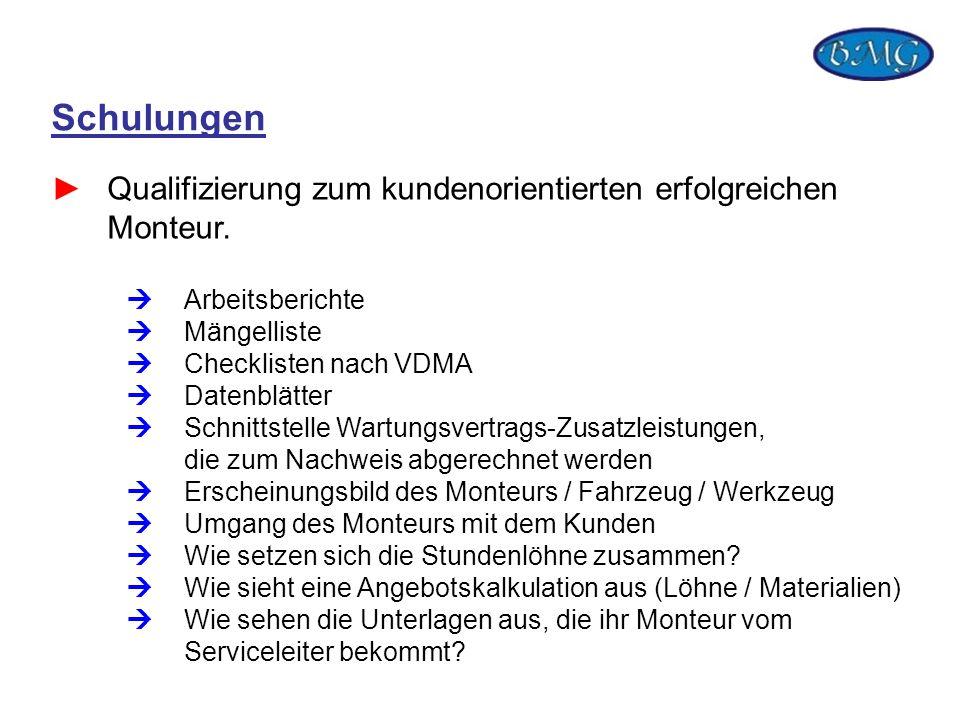 Schulungen Qualifizierung zum kundenorientierten erfolgreichen Monteur. Arbeitsberichte Mängelliste Checklisten nach VDMA Datenblätter Schnittstelle W
