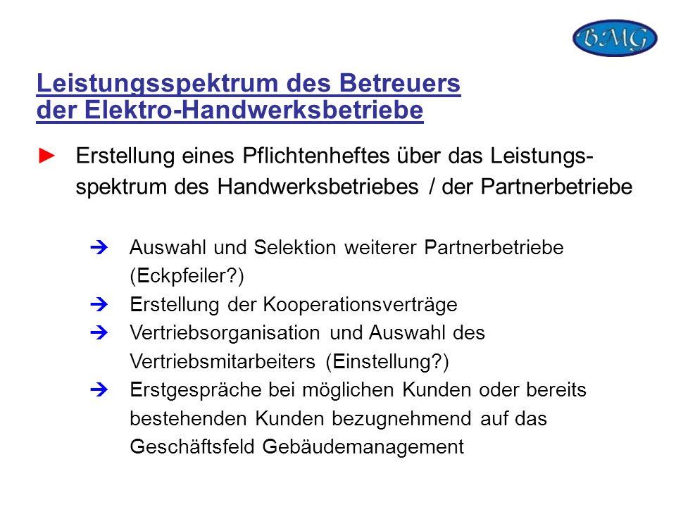 Leistungsspektrum des Betreuers der Elektro-Handwerksbetriebe Erstellung eines Pflichtenheftes über das Leistungs- spektrum des Handwerksbetriebes / d