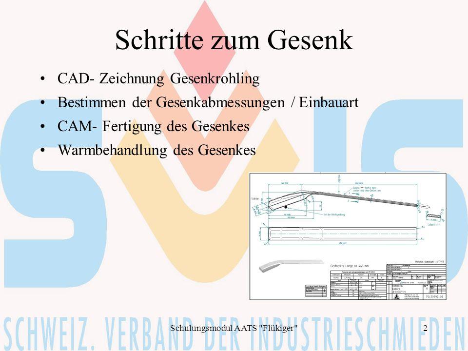Schulungsmodul AATS Flükiger 3 CAD- Gesenkrohling Quelle: Werkstückzeichnung analog oder digital oder Muster Erstellen des Schmiederohlings mittels CAD Optimierung zwischen Schmiedbarkeit und Kundenwunsch
