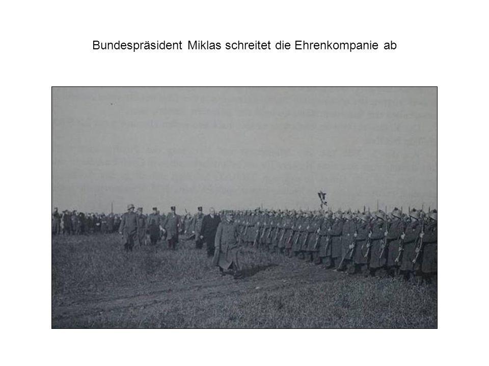 Bundespräsident Miklas schreitet die Ehrenkompanie ab