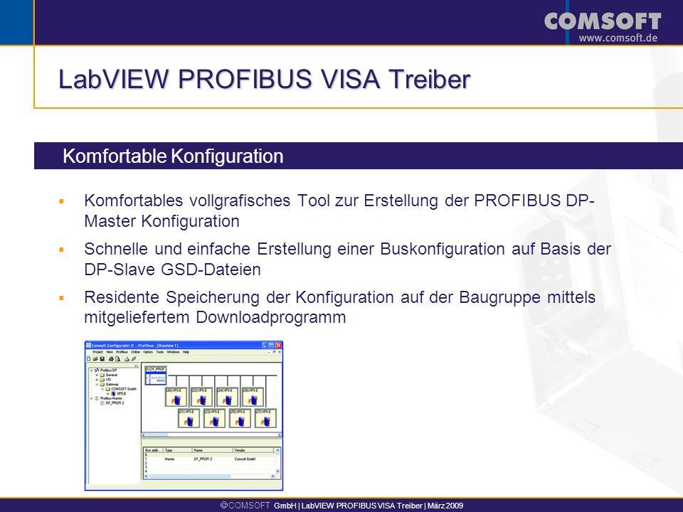 COMSOFT GmbH | LabVIEW PROFIBUS VISA Treiber | März 2009 LabVIEW PROFIBUS VISA Treiber Komfortable Konfiguration Komfortables vollgrafisches Tool zur