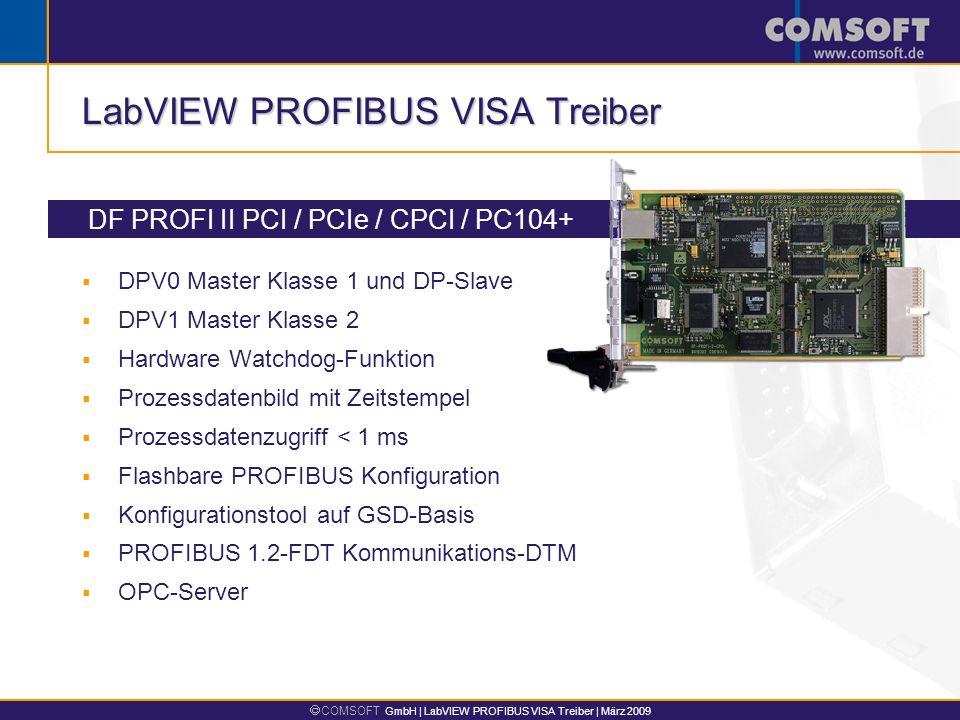 COMSOFT GmbH | LabVIEW PROFIBUS VISA Treiber | März 2009 LabVIEW PROFIBUS VISA Treiber DF PROFI II PCI / PCIe / CPCI / PC104+ DPV0 Master Klasse 1 und