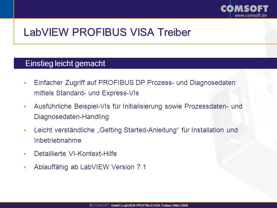 COMSOFT GmbH | LabVIEW PROFIBUS VISA Treiber | März 2009 LabVIEW PROFIBUS VISA Treiber Einstieg leicht gemacht Einfacher Zugriff auf PROFIBUS DP Proze