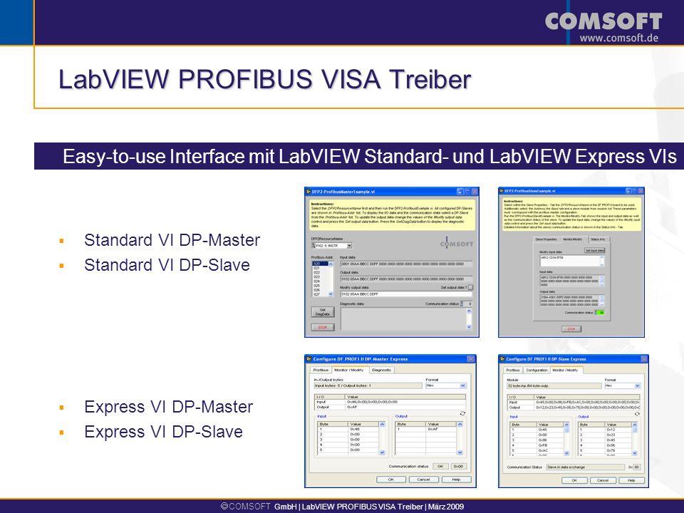 COMSOFT GmbH | LabVIEW PROFIBUS VISA Treiber | März 2009 LabVIEW PROFIBUS VISA Treiber Easy-to-use Interface mit LabVIEW Standard- und LabVIEW Express VIs Standard VI DP-Master